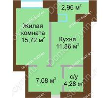 1 комнатная квартира 40,42 м² в ЖК Солнечный город, дом на участке № 214