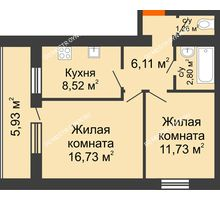 2 комнатная квартира 50,12 м² - ЖК Дом у озера