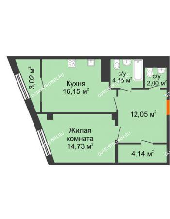 1 комнатная квартира 54,73 м² в ЖК Renaissance (Ренессанс), дом № 1