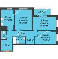 3 комнатная квартира 85,23 м² в ЖК Рассвет, дом № 6 - планировка