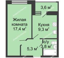 1 комнатная квартира 37,6 м² в ЖК Цветы, дом № 11 - планировка