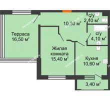 1 комнатная квартира 49,2 м² в ЖК Италия, дом Литер 9 - планировка