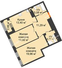 2 комнатная квартира 70,69 м², Дом премиум-класса Коллекция - планировка