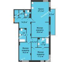3 комнатная квартира 125,1 м² в Клубный дом Лобачевский, дом № 1 - планировка
