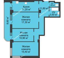 3 комнатная квартира 75,9 м², ЖК 8 марта - планировка