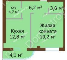 1 комнатная квартира 45,9 м², ЖК Бояр Палас - планировка
