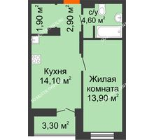 1 комнатная квартира 39,05 м² в ЖК КМ Анкудиновский парк, дом № 16 - планировка