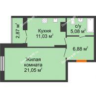 1 комнатная квартира 46,91 м² в ЖК Рассвет, дом № 4 - планировка