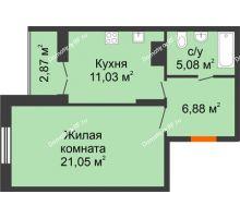 1 комнатная квартира 46,91 м² в ЖК Рассвет, дом № 6 - планировка