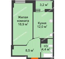 1 комнатная квартира 45,4 м² в ЖК Квартет, дом № 3 - планировка