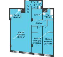 3 комнатная квартира 145,66 м², ЖК Гранд Панорама - планировка