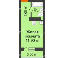 Студия 19,4 м² в ЖК Торпедо, дом № 1 - планировка