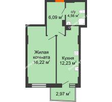 1 комнатная квартира 39,99 м² в ЖК Сердце Ростова 2, дом Литер 7 - планировка