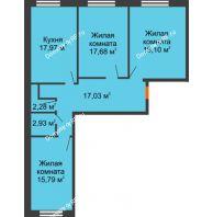 3 комнатная квартира 92,78 м², ЖК Две реки - планировка