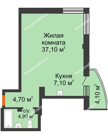 1 комнатная квартира 55 м² - ЖК Южная Башня