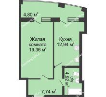1 комнатная квартира 56,56 м² в ЖК Тихий Дон, дом № 3 - планировка