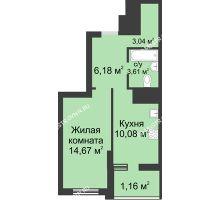 1 комнатная квартира 38,74 м² в ЖК Маленькая страна, дом № 3 - планировка