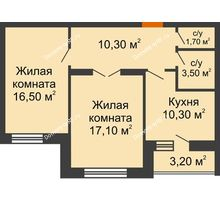 2 комнатная квартира 61 м² в ЖК Елецкий Лайт , дом № I-14 - планировка