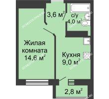 1 комнатная квартира 31,2 м² в ЖК ЮГ, дом № 20