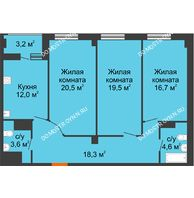 3 комнатная квартира 96,8 м² в ЖК Квартет, дом № 3 - планировка