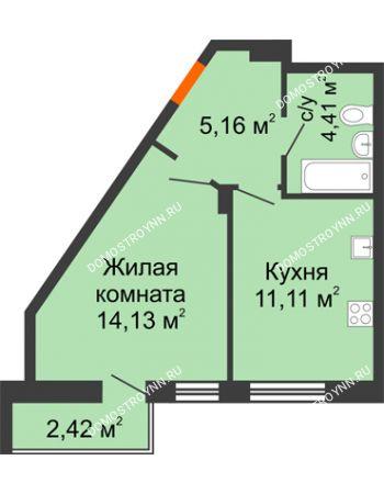 1 комнатная квартира 37,23 м² - ЖК Пушкин