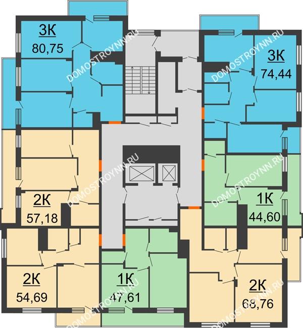 Планировка 15 этажа в доме № 6 в ЖК Циолковский