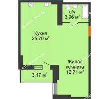 Студия 43,96 м², ЖК Орбита - планировка