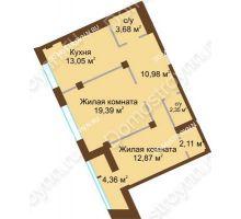 2 комнатная квартира 66,61 м², ЖК Либерти - планировка