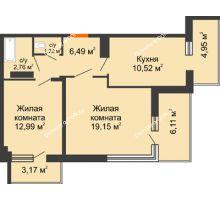 2 комнатная квартира 67,36 м² в ЖК Северный Остров, дом № 6 - планировка