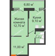 1 комнатная квартира 39,5 м² в ЖК Звезда Столицы, дом Литер 7 - планировка
