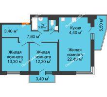 3 комнатная квартира 72 м² в ЖК Династия, дом Литер 2 - планировка