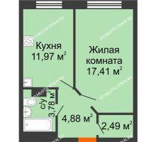 1 комнатная квартира 40,53 м² - ЖК Зеленый берег Life