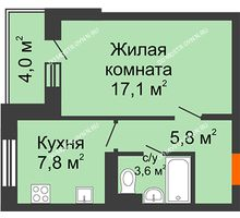 1 комнатная квартира 36,3 м² в ЖК Жюль Верн, дом № 1 корпус 2