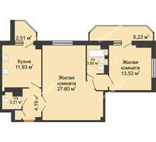 2 комнатная квартира 74,58 м², ЖК Гармония - планировка