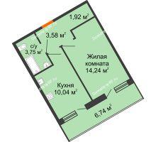 1 комнатная квартира 36,9 м², ЖК Розмарин - планировка