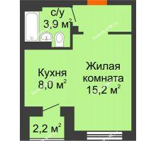 Студия 32,3 м² в ЖК Тихие зори, дом № 1  - планировка
