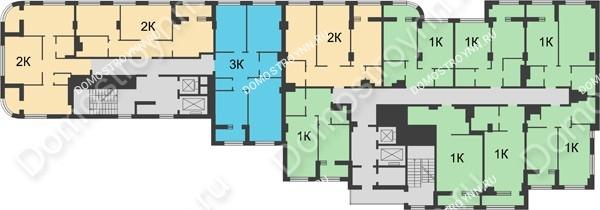 Планировка 9 этажа в доме № 5 в ЖК Караваиха