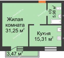 1 комнатная квартира 56,01 м², ЖК На Владимирской - планировка