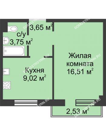 1 комнатная квартира 33,54 м² в ЖК Тридесятое, дом № 19