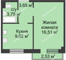 1 комнатная квартира 33,54 м² в ЖК Тридесятое, дом № 19 - планировка
