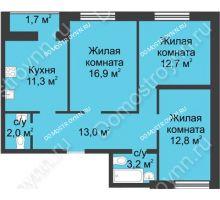 3 комнатная квартира 73,6 м² - ЖК Дом на Иванова