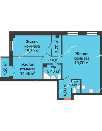 3 комнатная квартира 91 м² - ЖК Дом на 18-й Линии, 3