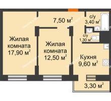 2 комнатная квартира 53,2 м² в ЖК Адмирал, дом 3 Очередь - планировка