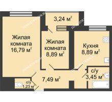 2 комнатная квартира 48,36 м² в ЖК Удачный, дом № 4