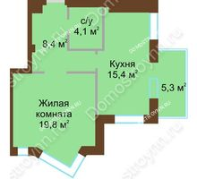 1 комнатная квартира 50,3 м², Жилой дом: ул. Почаинская д. 33 - планировка
