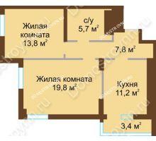 2 комнатная квартира 61,7 м² - ЖК Подкова Сормовская