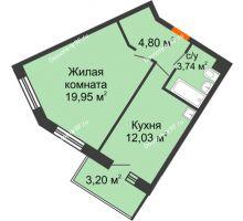 1 комнатная квартира 40,52 м² в ЖК Новый Академгородок, дом № 2 - планировка