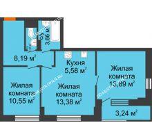 3 комнатная квартира 58,37 м² - ЖК Каскад на Путейской