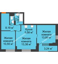 3 комнатная квартира 58,37 м², ЖК Каскад на Путейской - планировка