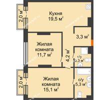 2 комнатная квартира 66,4 м² в Квартал Новин, дом 6 очередь ГП-6 - планировка